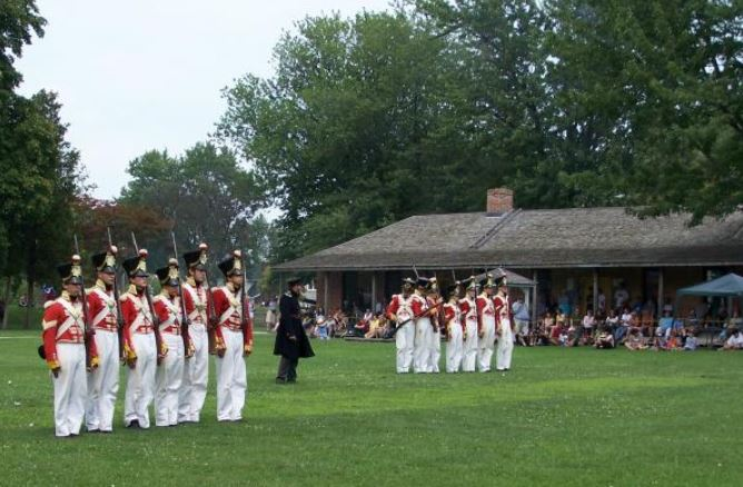 Fort Malden National Historic Site with military time-line events where re-enactors depicting eras ranging from establish camp and performing battles.